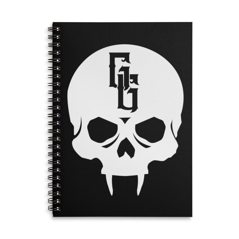 Gehenna Gaming Skull Logo (No Text - Goth Version) Accessories Lined Spiral Notebook by The Gehenna Gaming Shop