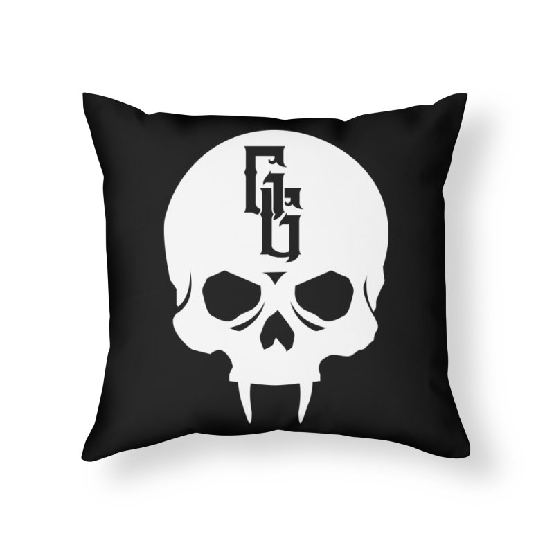 Gehenna Gaming Skull Logo (No Text - Goth Version) Home Throw Pillow by The Gehenna Gaming Shop