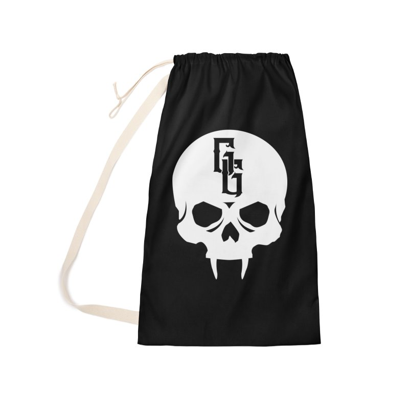 Gehenna Gaming Skull Logo (No Text - Goth Version) Accessories Laundry Bag Bag by The Gehenna Gaming Shop