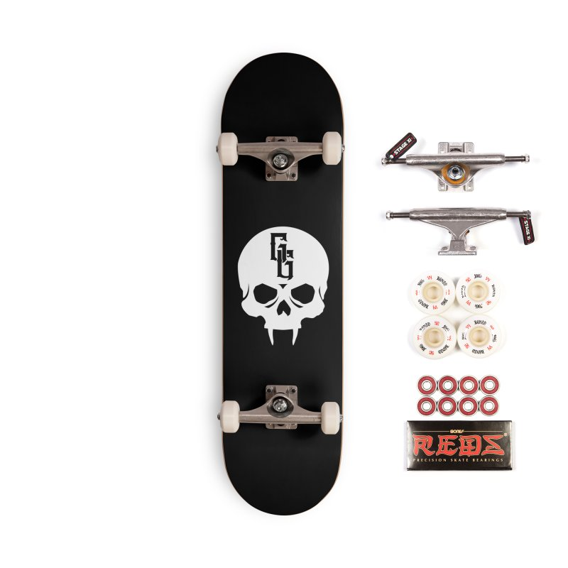 Gehenna Gaming Skull Logo (No Text - Goth Version) Accessories Complete - Pro Skateboard by The Gehenna Gaming Shop