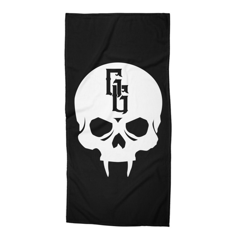 Gehenna Gaming Skull Logo (No Text - Goth Version) Accessories Beach Towel by The Gehenna Gaming Shop