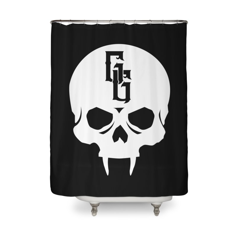 Gehenna Gaming Skull Logo (No Text - Goth Version) Home Shower Curtain by The Gehenna Gaming Shop
