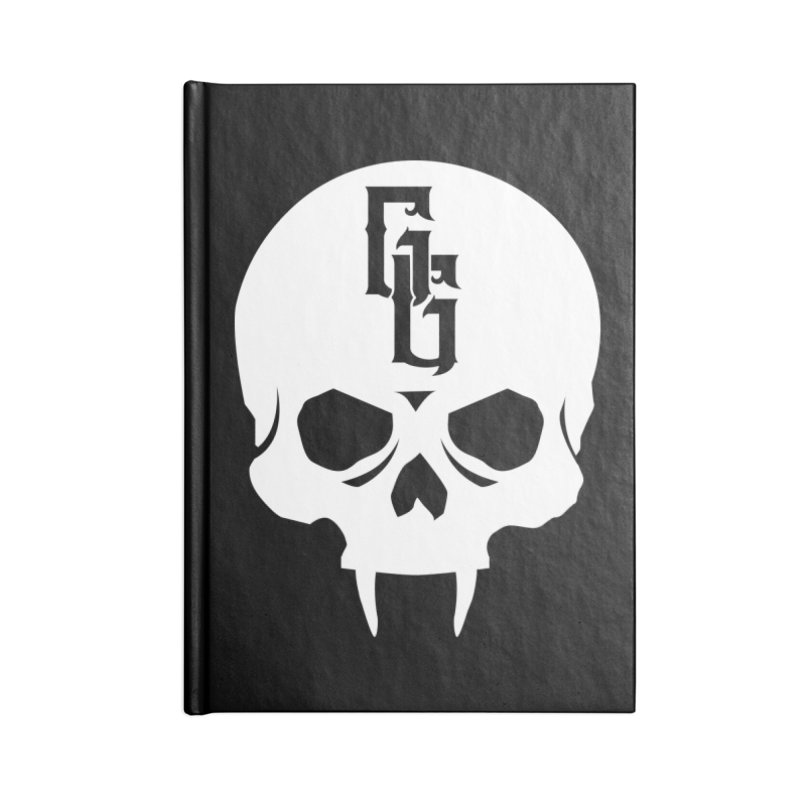 Gehenna Gaming Skull Logo (No Text - Goth Version) Accessories Lined Journal Notebook by The Gehenna Gaming Shop