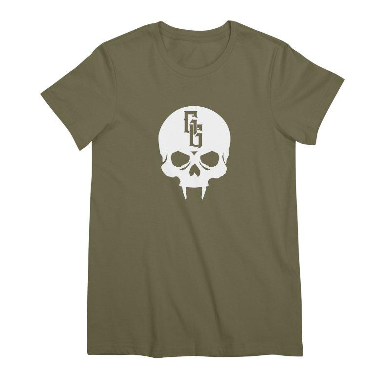 Gehenna Gaming Skull Logo (No Text - Goth Version) Women's Premium T-Shirt by The Gehenna Gaming Shop