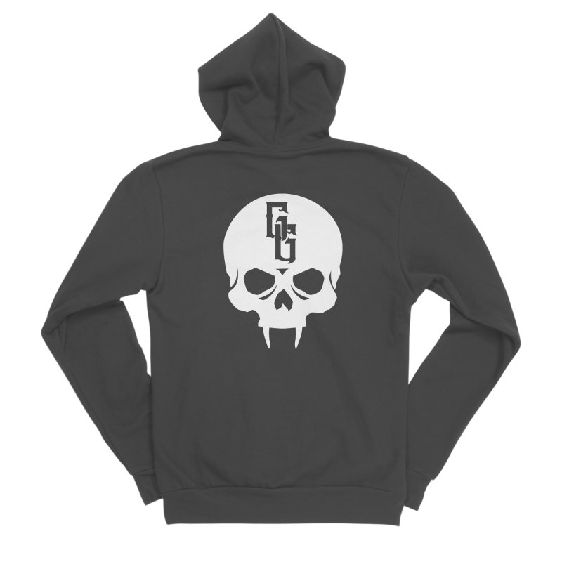 Gehenna Gaming Skull Logo (No Text - Goth Version) Men's Sponge Fleece Zip-Up Hoody by The Gehenna Gaming Shop