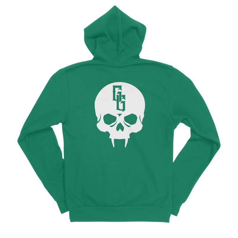 Gehenna Gaming Skull Logo (No Text - Goth Version) Men's Sponge Fleece Zip-Up Hoody by The Gehenna Gaming Shop