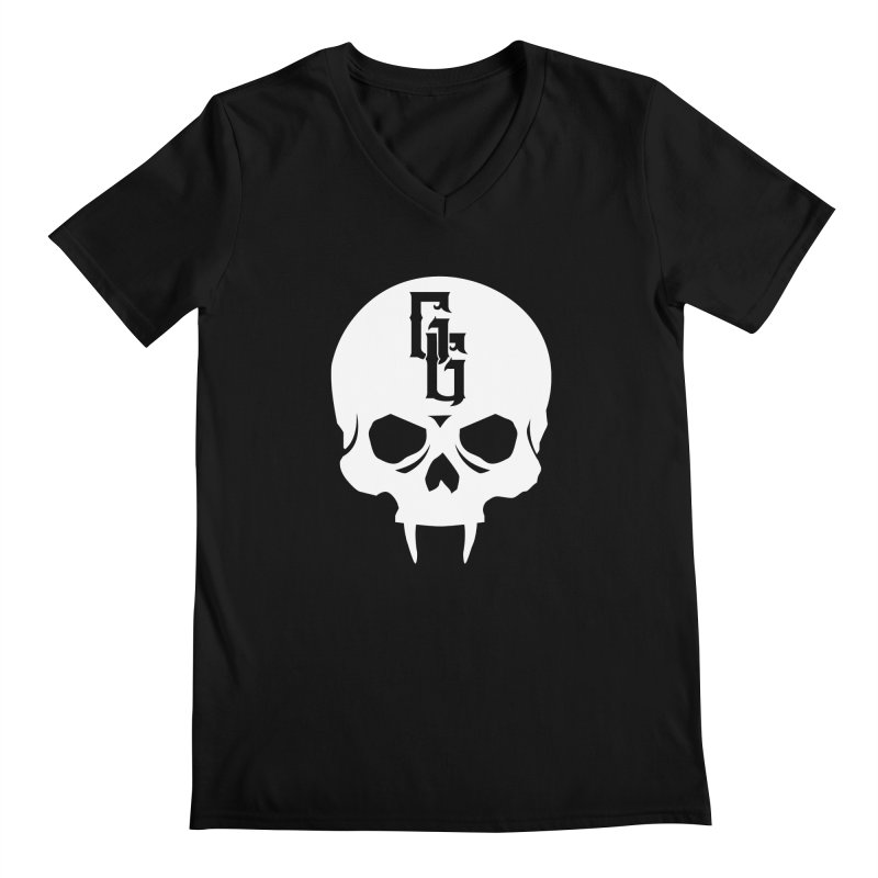 Gehenna Gaming Skull Logo (No Text - Goth Version) Men's Regular V-Neck by The Gehenna Gaming Shop