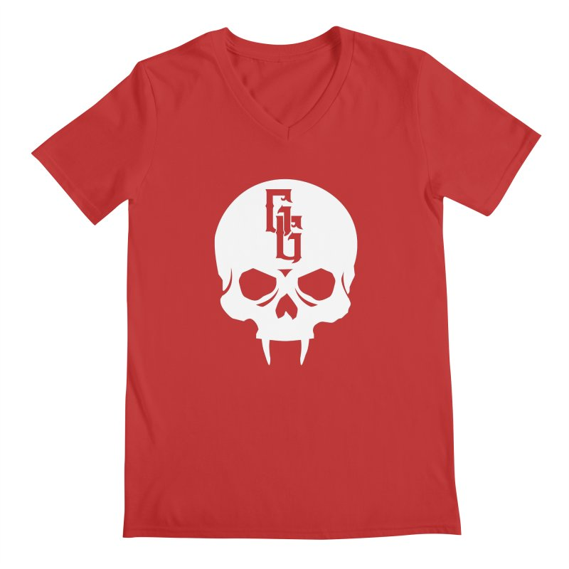Gehenna Gaming Skull Logo (No Text - Goth Version) Men's V-Neck by The Gehenna Gaming Shop
