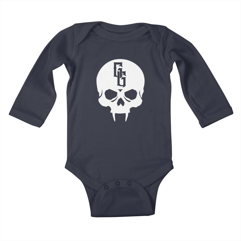 Gehenna Gaming Skull Logo (No Text - Goth Version) Kids Baby Longsleeve Bodysuit by The Gehenna Gaming Shop