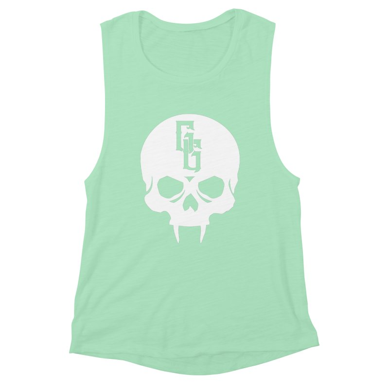 Gehenna Gaming Skull Logo (No Text - Goth Version) Women's Muscle Tank by The Gehenna Gaming Shop