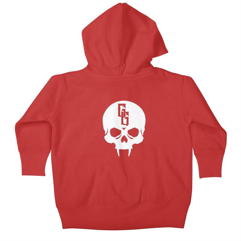 Gehenna Gaming Skull Logo (No Text - Goth Version) Kids Baby Zip-Up Hoody by The Gehenna Gaming Shop