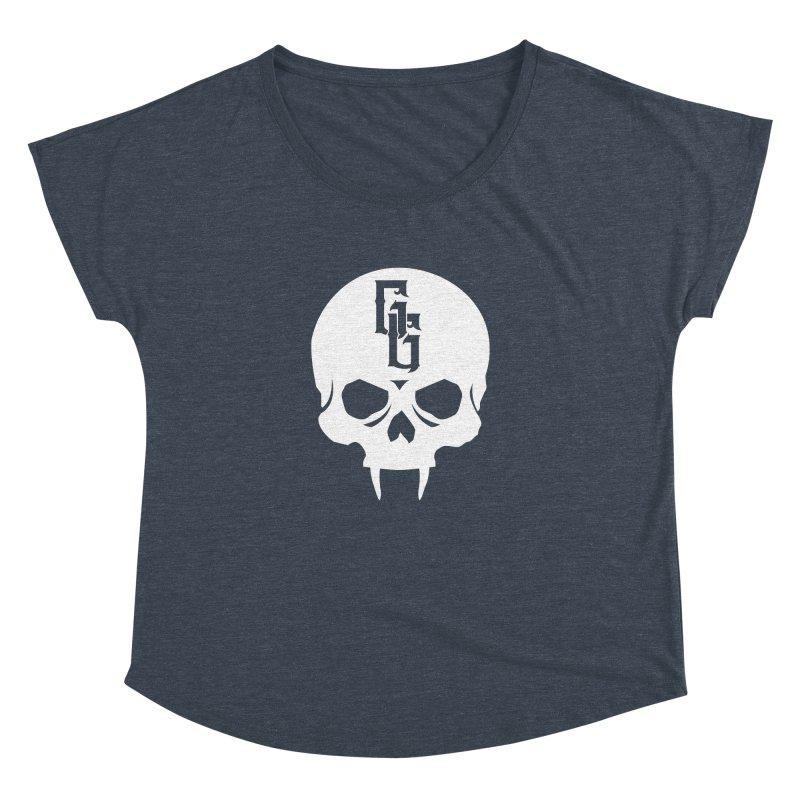 Gehenna Gaming Skull Logo (No Text - Goth Version) Women's Dolman Scoop Neck by GehennaGaming's Artist Shop