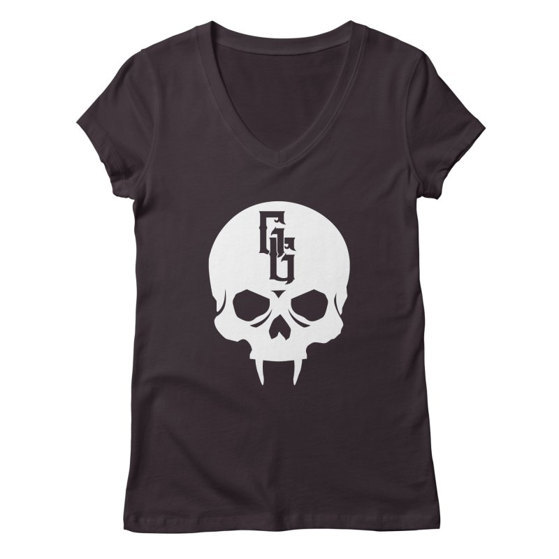 Gehenna Gaming Skull Logo (No Text - Goth Version) Women's Regular V-Neck by GehennaGaming's Artist Shop