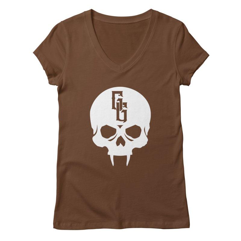 Gehenna Gaming Skull Logo (No Text - Goth Version) Women's Regular V-Neck by The Gehenna Gaming Shop