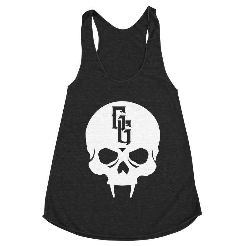Gehenna Gaming Skull Logo (No Text - Goth Version) Women's Racerback Triblend Tank by GehennaGaming's Artist Shop
