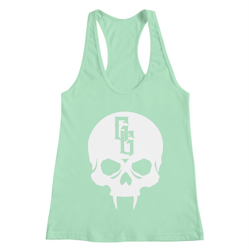 Gehenna Gaming Skull Logo (No Text - Goth Version) Women's Racerback Tank by GehennaGaming's Artist Shop