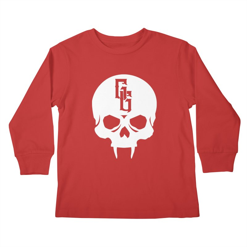 Gehenna Gaming Skull Logo (No Text - Goth Version) Kids Longsleeve T-Shirt by The Gehenna Gaming Shop