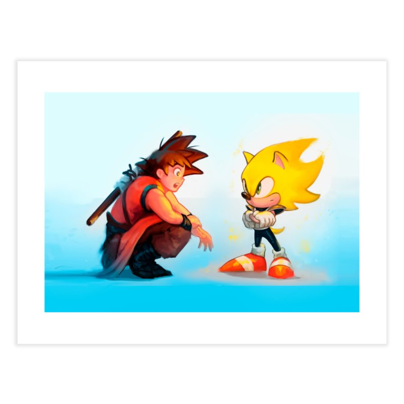 Goku and Sonic Home Fine Art Print by Shiba Shop