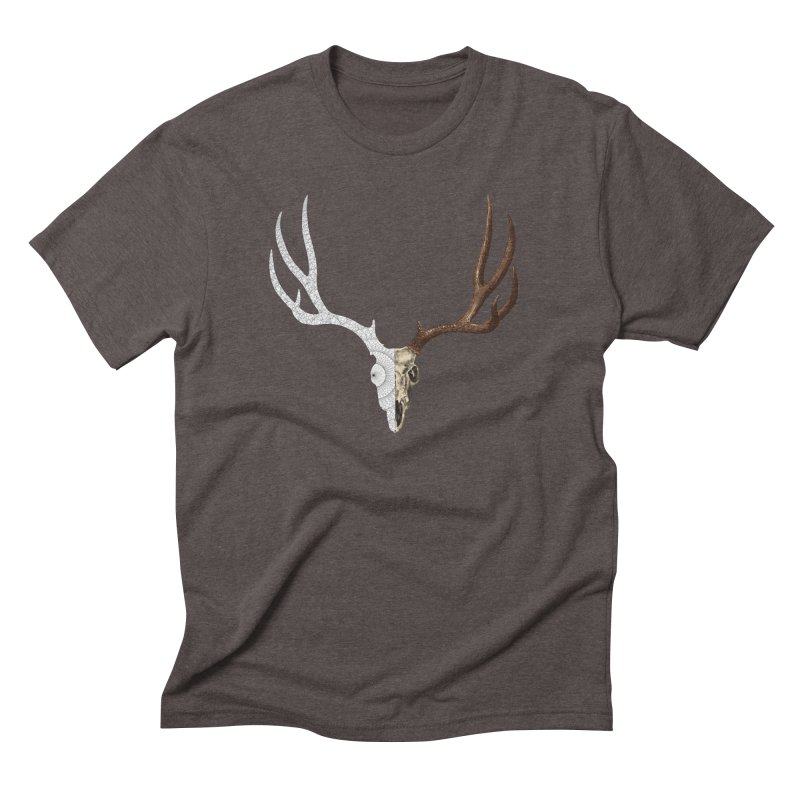 Deer Skull Polytope II in Men's Triblend T-shirt Tri-Coffee by Geometric Evolution