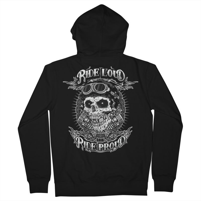 Ride Loud Ride Proud Biker Tee Men's French Terry Zip-Up Hoody by Giftedshirt's Artist Shop
