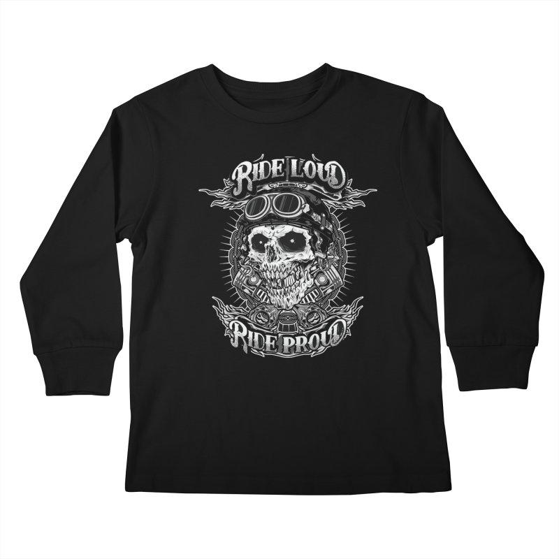 Ride Loud Ride Proud Biker Tee Kids Longsleeve T-Shirt by Giftedshirt's Artist Shop
