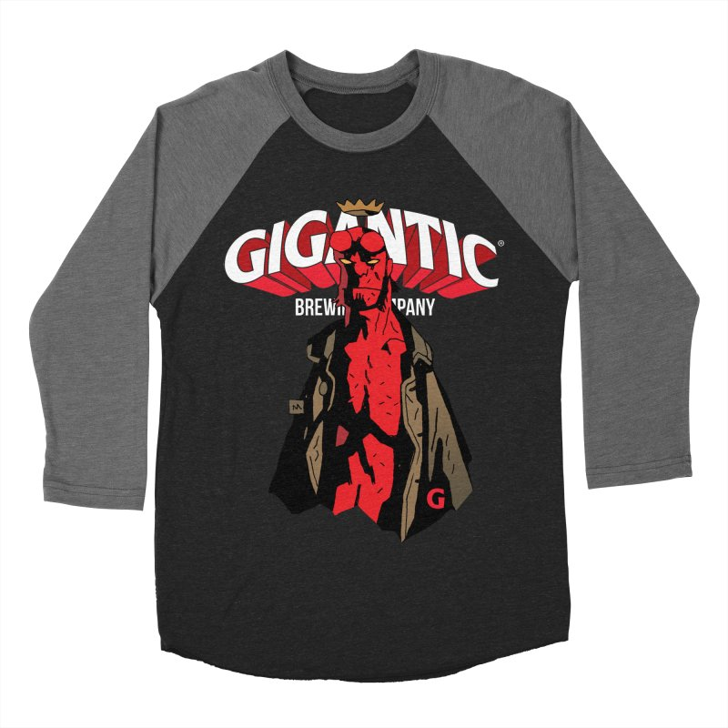 GIGANTIC HELLBOY Men's Baseball Triblend Longsleeve T-Shirt by Gigantic Brewing Company