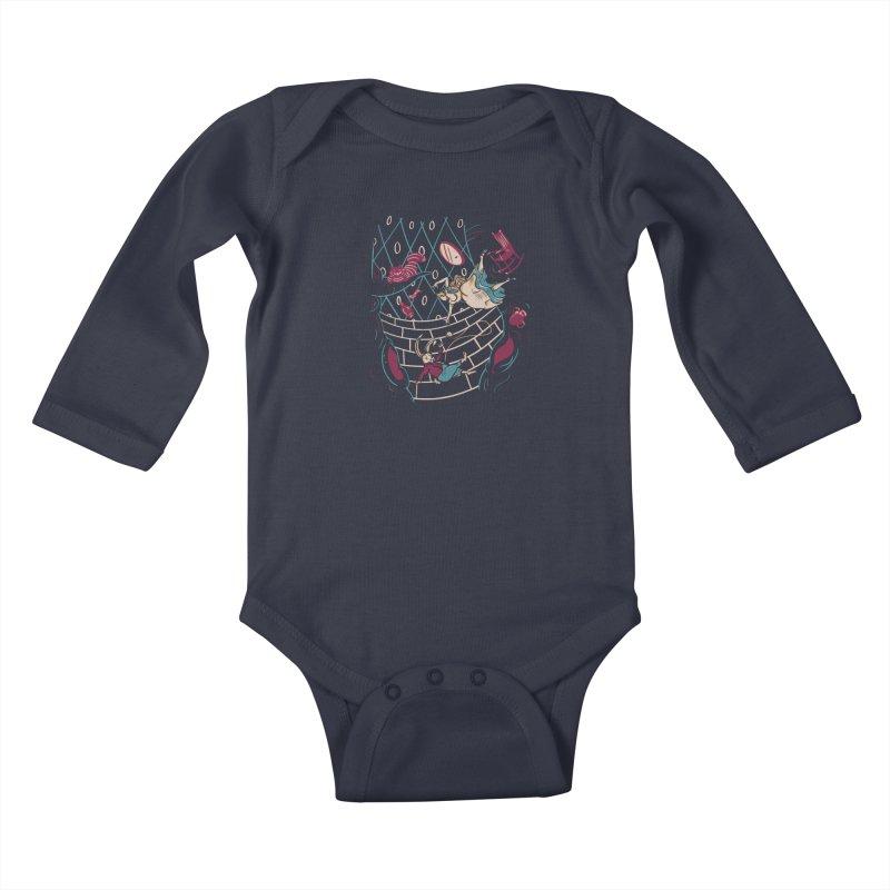 Follow the White Rabbit  Kids Baby Longsleeve Bodysuit by Gil's Artist Shop