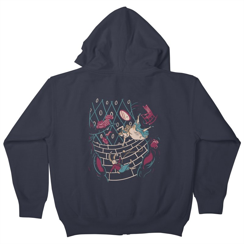 Follow the White Rabbit  Kids Zip-Up Hoody by Gil's Artist Shop