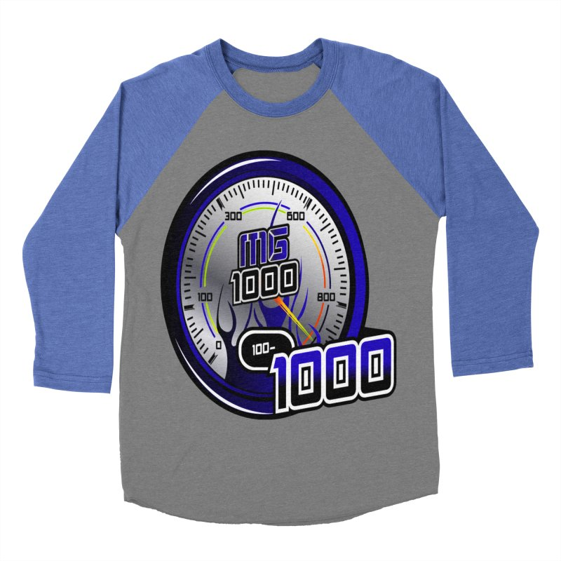 MG1000 in Men's Baseball Triblend Longsleeve T-Shirt Blue Triblend Sleeves by Ginotopia