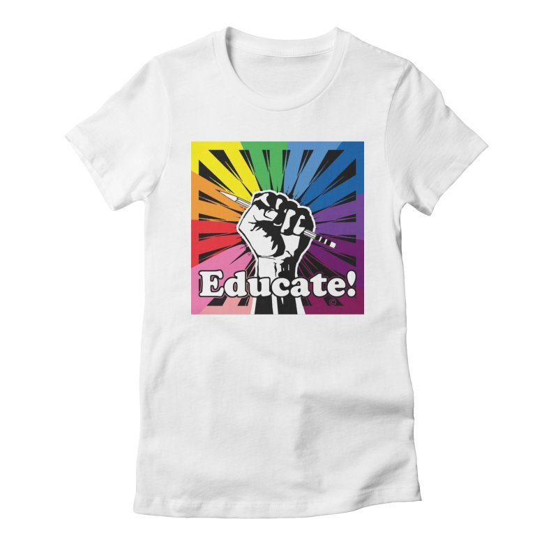 Rainbow PRIDE Women's Fitted T-Shirt by Glitterlips's Artist Shop