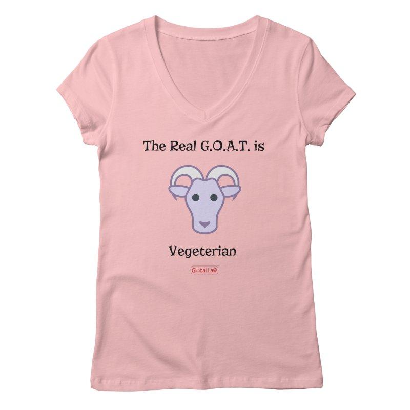 G.O.A.T. Women's Regular V-Neck by GlobalLawTV's Artist Shop