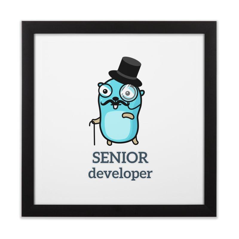 senior developer Home Framed Fine Art Print by Be like a Gopher