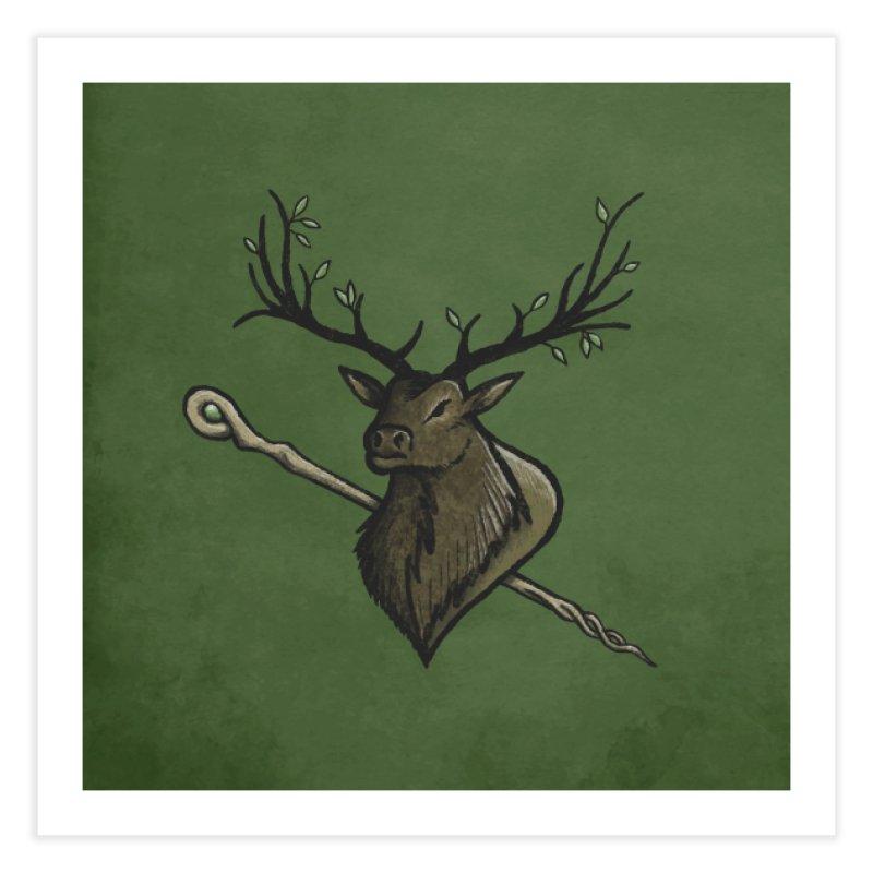 Heraldic Elk | Emblem of the Darasfaerim (with Background) Home Fine Art Print by Gray Wolf Creative