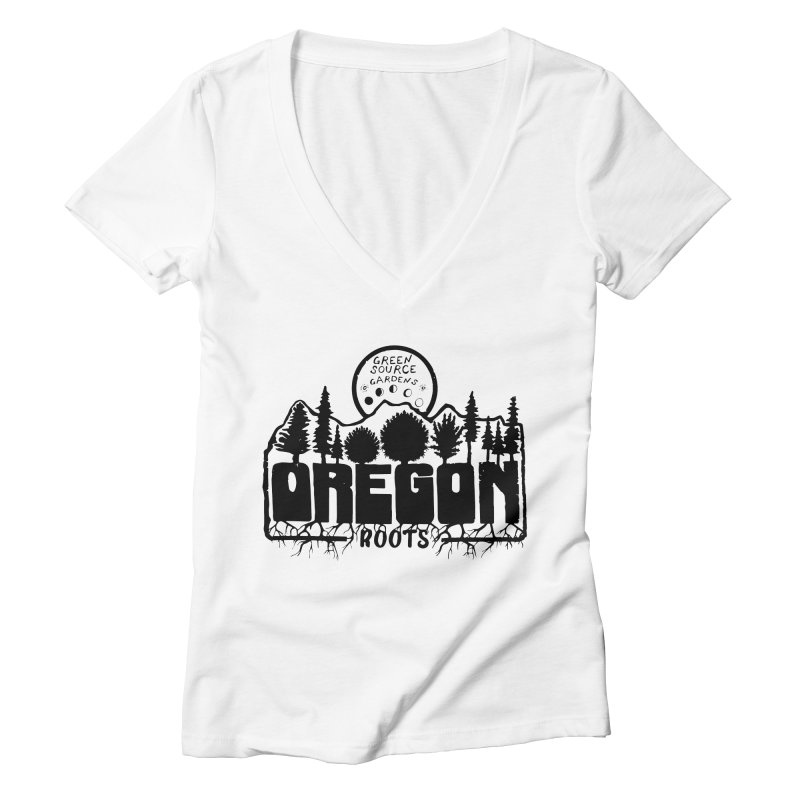 OREGON ROOTS in Black Women's V-Neck by Green Source Gardens
