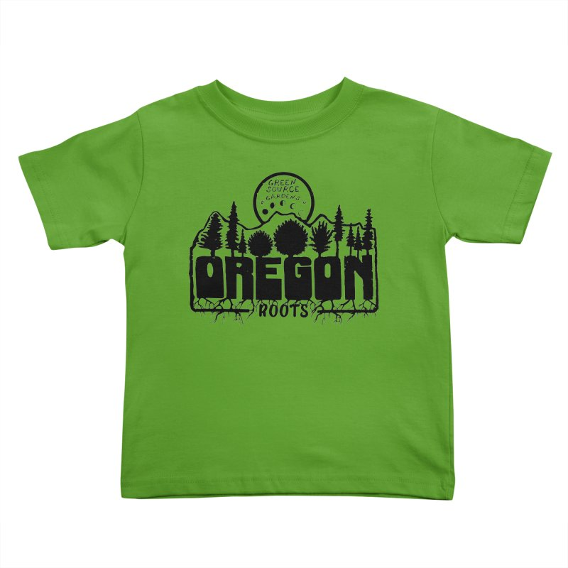 OREGON ROOTS in Black Kids Toddler T-Shirt by Green Source Gardens