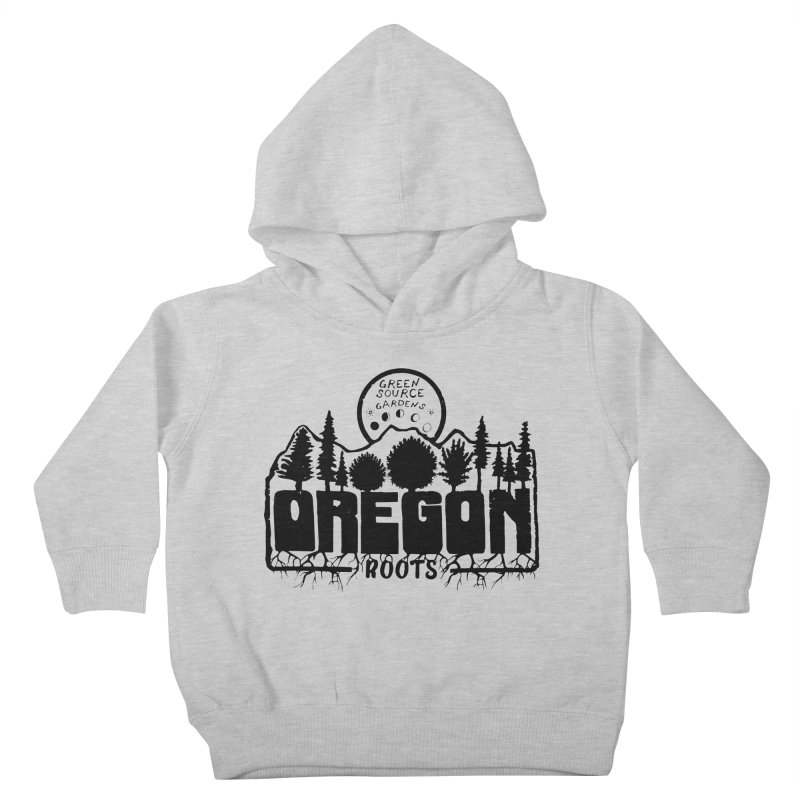 OREGON ROOTS in Black Kids Toddler Pullover Hoody by Green Source Gardens
