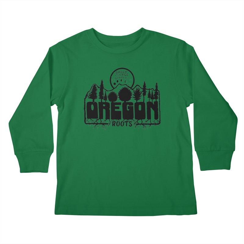 OREGON ROOTS in Black Kids Longsleeve T-Shirt by Green Source Gardens