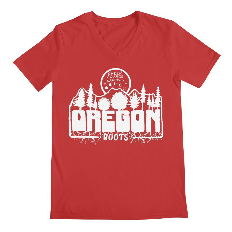 OREGON ROOTS in White Men's V-Neck by Green Source Gardens