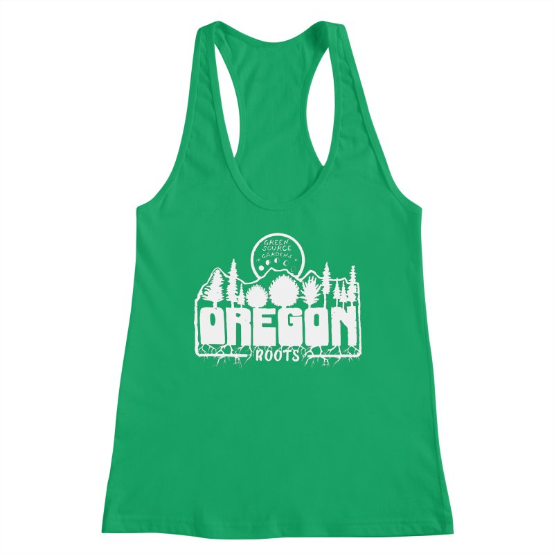 OREGON ROOTS in White Women's Tank by Green Source Gardens
