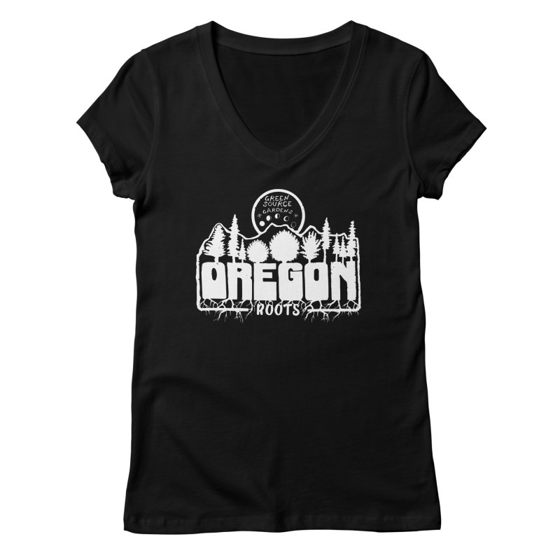 OREGON ROOTS in White Women's V-Neck by Green Source Gardens