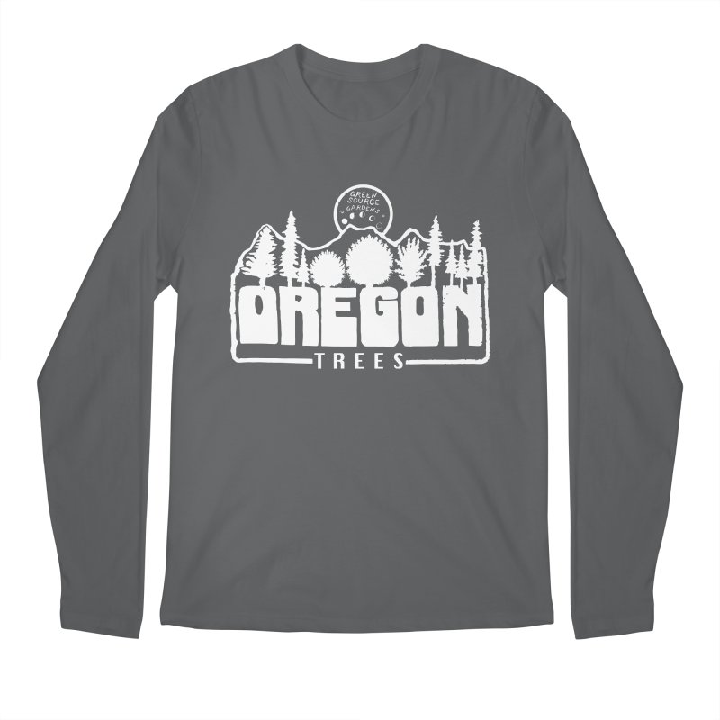 OREGON TREES TEE WHITE Men's Longsleeve T-Shirt by Green Source Gardens