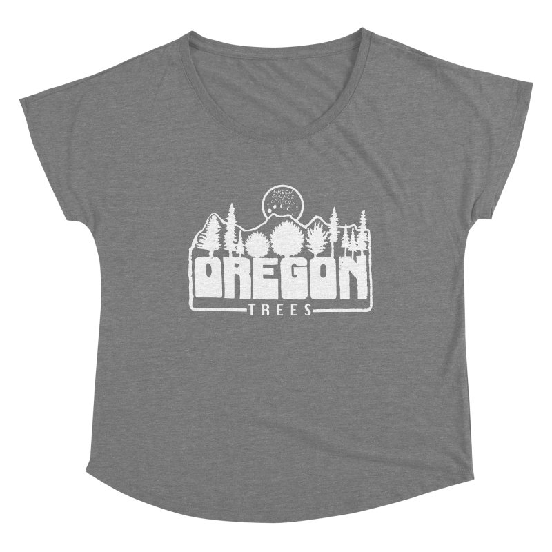 OREGON TREES TEE WHITE Women's Scoop Neck by Green Source Gardens