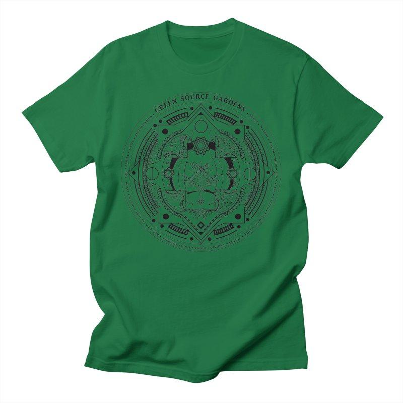 Canna Mandala (black ink) Men's T-Shirt by Green Source Gardens
