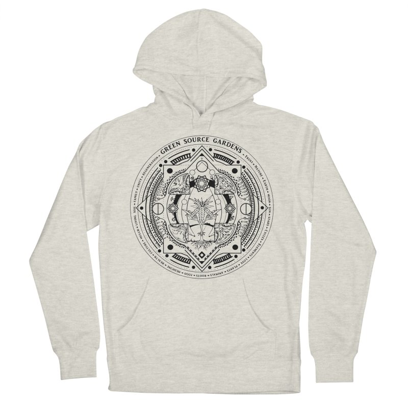 Canna Mandala (black ink) Men's French Terry Pullover Hoody by Green Source Gardens