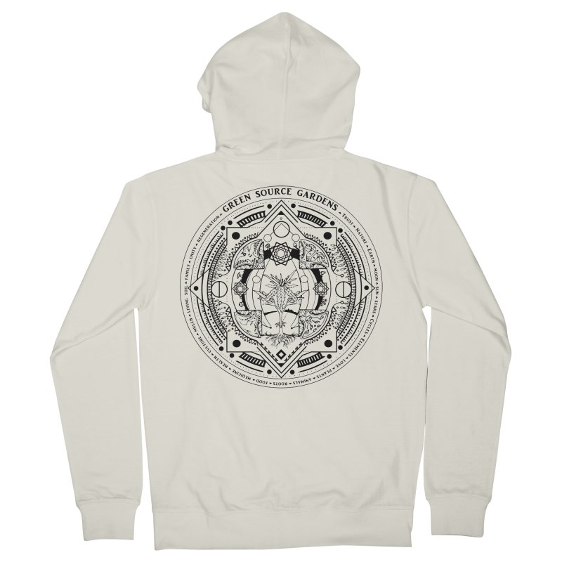 Canna Mandala (black ink) Women's French Terry Zip-Up Hoody by Green Source Gardens