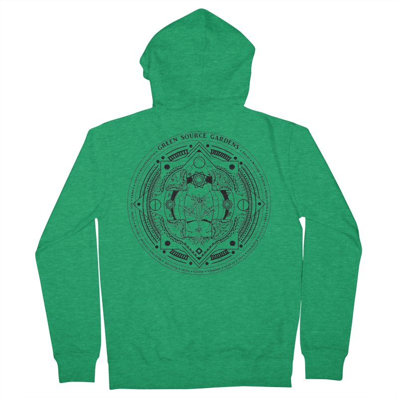Canna Mandala (black ink) Men's French Terry Zip-Up Hoody by Green Source Gardens