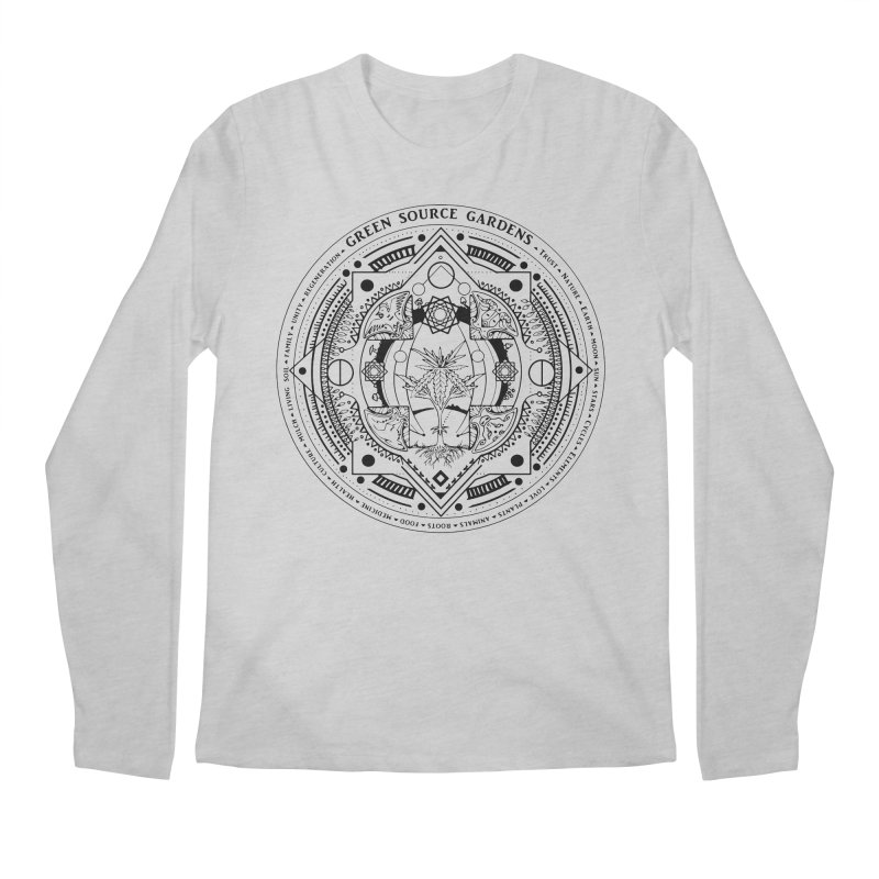 Canna Mandala (black ink) Men's Regular Longsleeve T-Shirt by Green Source Gardens