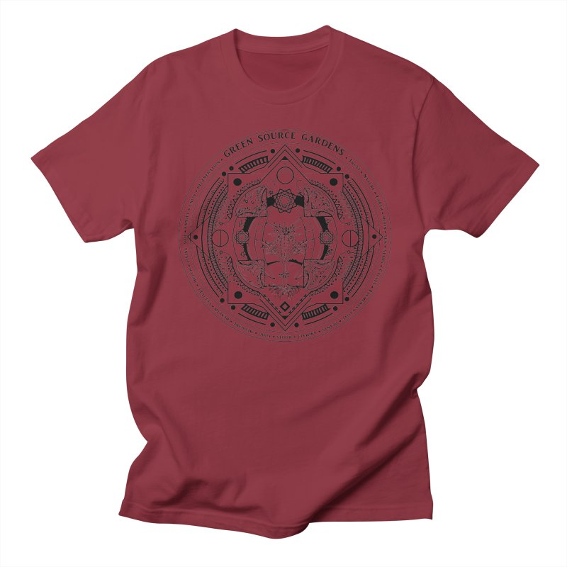 Canna Mandala (black ink) Men's Regular T-Shirt by Green Source Gardens