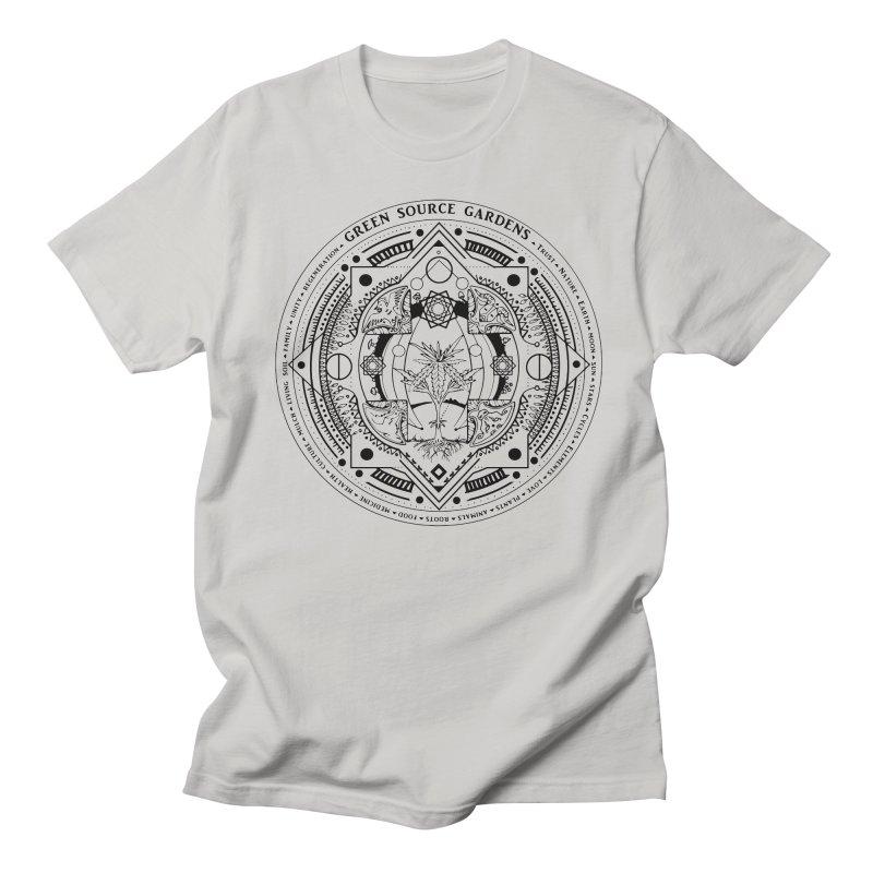 Canna Mandala (black ink) Women's Regular Unisex T-Shirt by Green Source Gardens