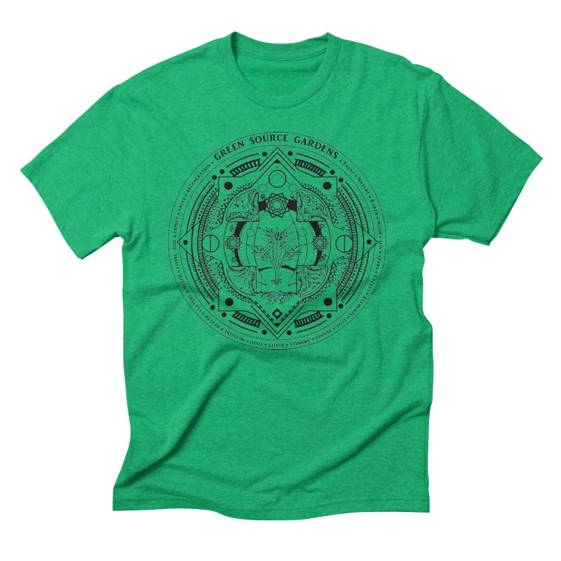 Canna Mandala (black ink) Men's Triblend T-Shirt by Green Source Gardens